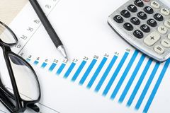 Home savings, budget concept. Chart, pen, calculator and glasses on wooden office table. Home savings, budget concept. Chart, pen, calculator and glasses on Royalty Free Stock Photos