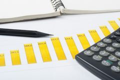 Home savings, budget concept. Chart. pen, calculator and notepad on wooden office desk table. Chart, pen, calculator and notepad on wooden office desk table Royalty Free Stock Image