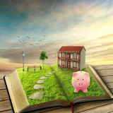 Home savings financial concept. Piggy bank magic book house Royalty Free Stock Photography