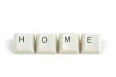 Home from scattered keyboard keys on white Stock Photography