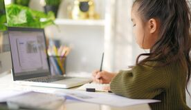 Home school on quarantine. Home Education to avoid virus disease, Online Education Concept