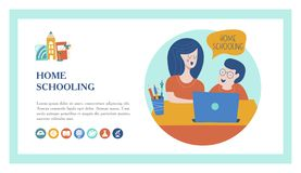 Home schooling. The concept of getting a good education at home. Vector illustration in flat style. vector illustration
