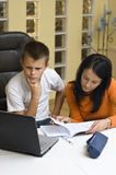 Home schooling with laptop Stock Photos