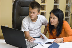 Home schooling with laptop Royalty Free Stock Photo