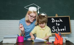 Home schooling or private school. School children. Kids from primary school. Concept of education and teaching. royalty free stock image
