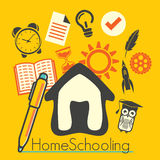 Home schooling. Vector illustration of the concept of home schooling Stock Photos