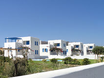Home by the sea. Single family houses, Rhodes Island, Greece stock image