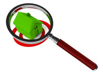 Home search. Searching for perfect home, with a house building in green under a lens, on a target circle Royalty Free Stock Images