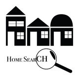 Home search. Icon/logo illustration for home search function, with different types of home and a magnifying glass Royalty Free Stock Photos