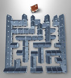 Home Search. And solutions as a real estate concept with a maze or labyrinth made of a group of grey homes and a perfect family house at the end of the puzzle Stock Image