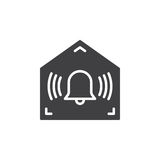 Home secured by alarm system icon vector. Filled flat sign, solid pictogram isolated on white. Symbol, logo illustration Royalty Free Stock Photos