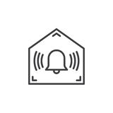 Home secured by alarm system line icon. Outline vector sign, linear pictogram isolated on white. Symbol, logo illustration Royalty Free Stock Photography