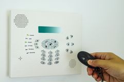 Home security alarm. With remote control Stock Photo