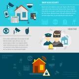 Home security banner set Stock Photos