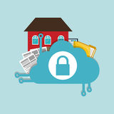 Home security cloud document folder padlock Royalty Free Stock Image