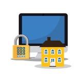 Home security computer password padlock. Illustration eps 10 Stock Photo