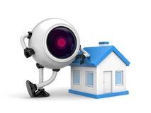 Home security concept - Robot CCTV camera Stock Photo