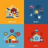 Home security 4 flat icons square Royalty Free Stock Image