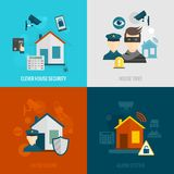 Home security flat set Royalty Free Stock Images