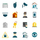 Home security icon flat Stock Images