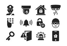 Home security icon set 01. Home security and protection icon set 01