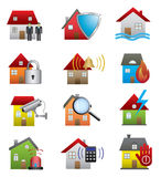 Home security icons Royalty Free Stock Photography