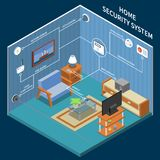 Home Security Isometric Background stock illustration