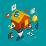 Home security isometric icons Stock Photography