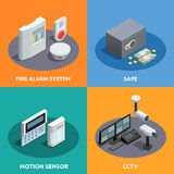 Home Security Isometric 4 Icons Square Royalty Free Stock Images