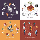 Home Security 4 Isometric Icons Square Royalty Free Stock Photos