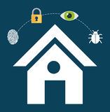 Home security lock system vigilance fingerprint Stock Photography