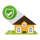 Home security policy protected button shadow Stock Photo