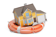 Home security and protection concept, house with lifebuoy. 3D re Royalty Free Stock Photos