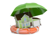 Home security and protection concept, house with umbrella and li Stock Photography