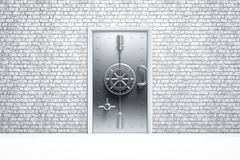 Home security safe door on brick wall Royalty Free Stock Photography