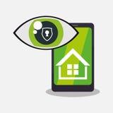 Home security smartphone technology vigilance. Illustration eps 10 Royalty Free Stock Photo