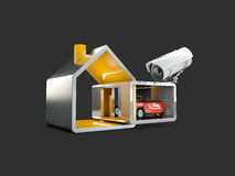 Home security system, 3d illustration, isolated black. Home security system. 3d illustration, isolated black Stock Photos