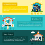Home security system flat vector banners set Royalty Free Stock Photography