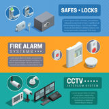 Home Security System Isometric Banners Set Stock Photography