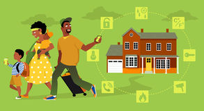 Home security system for travellers. Family going on vacation, the man arming a home security system on his way out, EPS 8 vector illustration, no transparencies Royalty Free Stock Photos