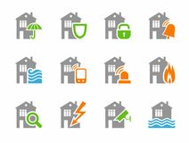 Home security systems, home insurance, flat icons, gray, colored. Royalty Free Stock Photos