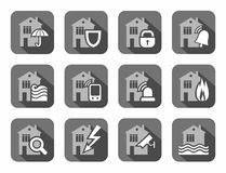 Home security systems, home insurance, flat icons, gray. Royalty Free Stock Images