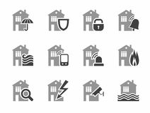 Home security systems, home insurance, flat icons. Royalty Free Stock Image