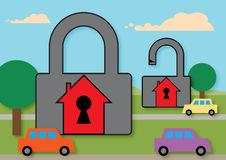 Home Security 2. Two simplified houses, one with a locked padlock around it and the other one open. A metaphor for home security Royalty Free Stock Photo