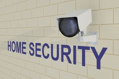 HOME SECURITYconcept. 3D illustration of HOME SECURITY title under security camera which is mounted on brick wall Royalty Free Stock Image