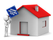 Home selling tips. Little 3d man holding a signboard with home selling tips on it in white text Stock Images