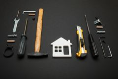 Home service background, plumbing accessories royalty free stock photography