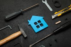 Home service tools, hand worker construction royalty free stock photo