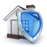 Home and shield Stock Photo