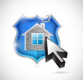 Home and shield of protection. illustration Stock Image